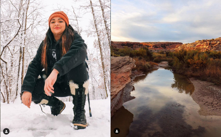 Left: Woman posing in a snowy landscape. Right: Beautiful river travels through a red soil landscape.