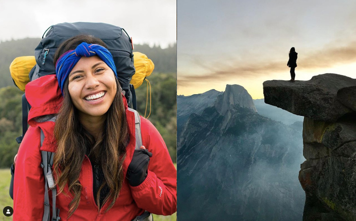 Left: Woman carries a backpack and smiles at the camera. Right: Person stands on the edge of a cliff during sunset.