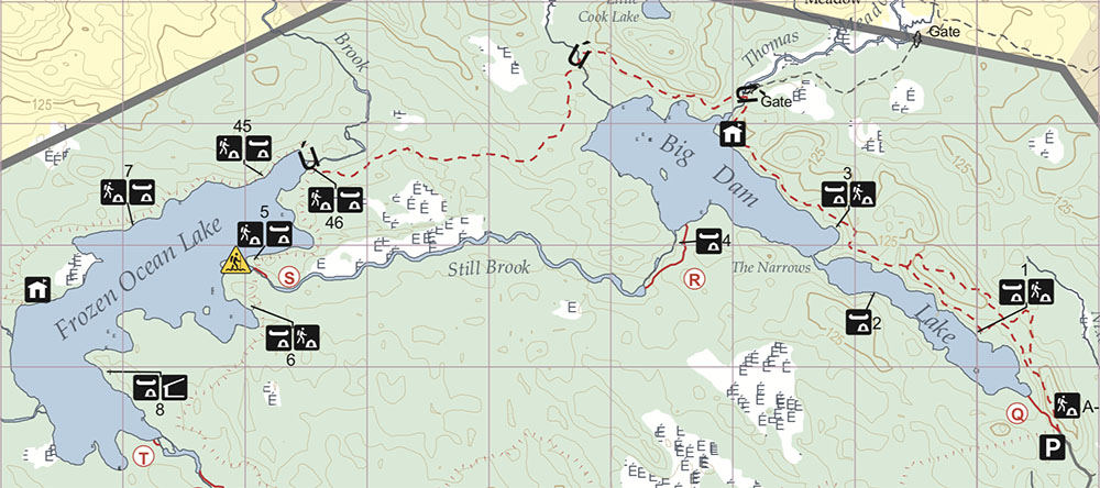 Map of Big Dam, Still Brook, and Frozen Lake Area