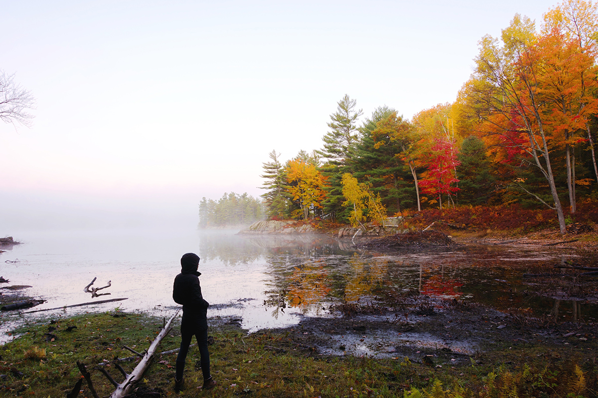 Woman stands in front of La Peche Lake in Gatineau Park. She looks out at the fall colours. The deciduous trees have turned orange, yellow, and red.