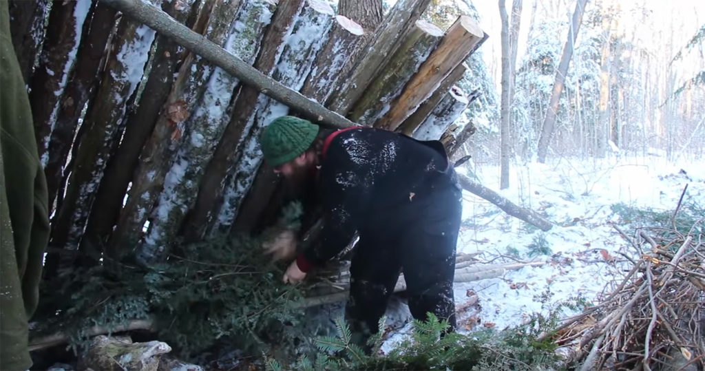 """Screenshot from Canadian Bushcraft video, """"The Sub-Arctic Lean-To"""""""