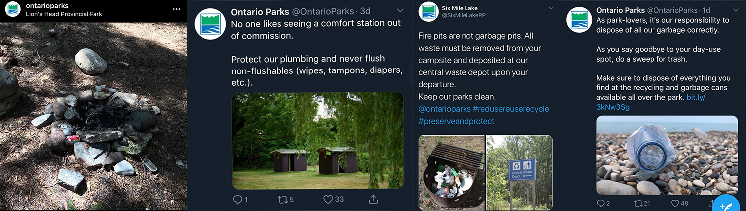 Tweets and Instagram posts from Ontario Parks about the garbage being left behind.