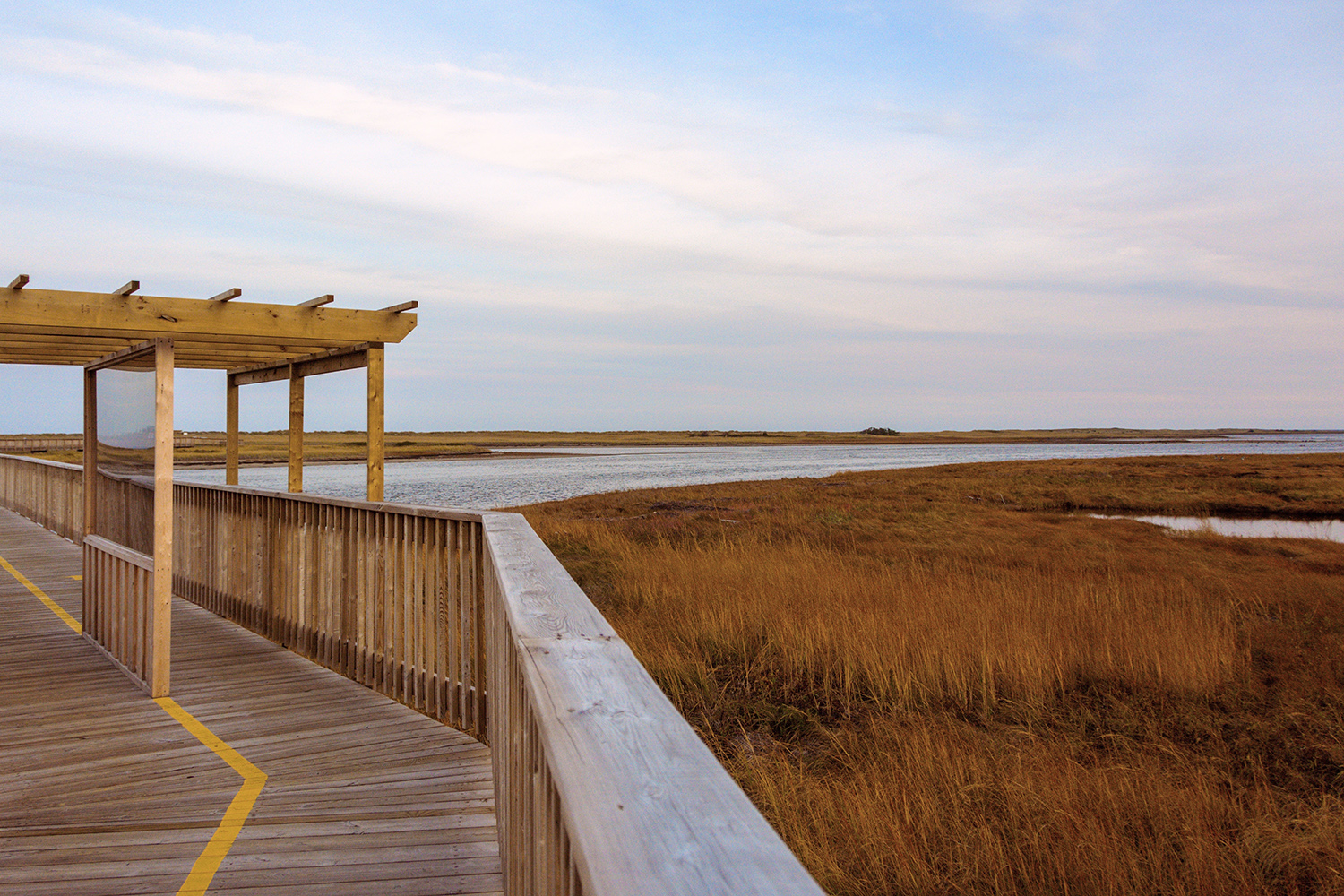This boardwalk at Kelly's Beach takes you over lagoons, salt marshes, and dunes.