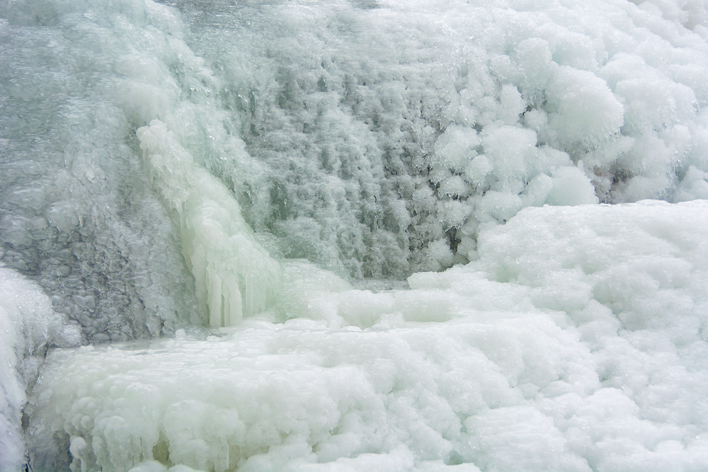 Much of the waterfall was covered in a thick layer of ice.