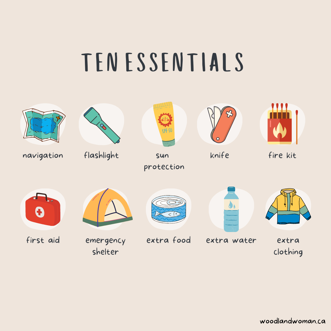 The infograph lists the ten essentials: nagivation, flashlight, sun screen, knife, fire kit, first aid, emergency shelter, extra food, extra water, and extra clothes.
